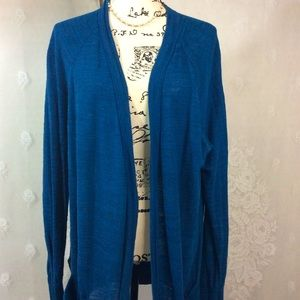 Lou & Grey Dark Peacock Blue Open Front Cardigan L